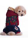 Собаки Толстовки Красный / Зеленый Одежда для собак Зима Однотонный Мода / На каждый день / Спорт