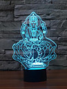 фигура будды касания затемнением 3D LED свет ночи 7colorful украшения атмосфера новизны светильника освещения свет рождества