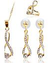 여성 모조 다이아몬드 의상 보석 1 목걸이 1 쌍의 귀걸이 링 제품 파티 일상 캐쥬얼 결혼 선물
