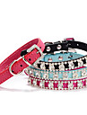 Cat / Dog Collar Adjustable/Retractable Rhinestone / Mosaic Red / Black / Blue / Rose PU Leather