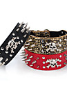 Cat / Dog Collar Adjustable/Retractable / Studded Bone / Rock / Music Red / Black / Gold PU Leather