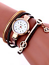 Women\'s Fashion Watch Wrist watch Bracelet Watch Quartz Colorful PU Band Vintage Bohemian Charm Bangle Cool CasualBlack White Blue Red