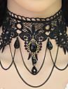Ожерелье Ожерелья-бархатки Татуировка Choker Бижутерия Для вечеринок Тату-дизайн Кисточки Euramerican Кружево Резина 1шт Подарок Черный