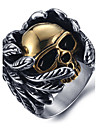 Men\'s Fashion Punk Style 316L Titanium Steel Vintage Personality Skull Engraved Zircon Statement Rings Casual/Daily 1pc