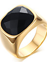 Кольца Оникс Для вечеринок Повседневные Бижутерия Нержавеющая сталь Агат Мужчины Массивные кольца Кольцо 1шт,8 9 10 11 Золотой