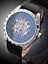 남성용 패션 시계 손목 시계 기계식 시계 오토메틱 셀프-윈딩 천연 가죽 밴드 참 캐쥬얼 럭셔리 멀티컬러