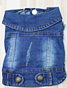 Собака Джинсовые куртки Одежда для собак На каждый день Спорт Сплошной цвет Синий