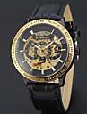 남성용 스포츠 시계 드레스 시계 스켈레톤 시계 패션 시계 손목 시계 기계식 시계 오토메틱 셀프-윈딩 천연 가죽 밴드 참 캐쥬얼 럭셔리 멀티컬러