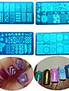 8pcs / set vente chaude outil de beaute manucure plaque pochoirs estampage mode diy ongles conception douce colore estampage en acier