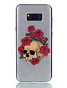 Para IMD Estampada Capinha Capa Traseira Capinha Brilho com Glitter Flor Caveira Rigida PC para Samsung S8 S8 Plus S7 edge S7