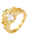 Gold Plated Rings Heart Crown Jewelry For Wedding Party Engagement Gift Valentine 1pc