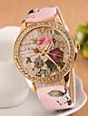 Femme Montre Habillee Montre Tendance Montre Bracelet Montre Diamant Simulation Quartz Imitation de diamant Polyurethane Bande Fleur Rose