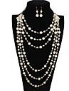 Ensemble de bijoux euroamericains Perle Forme Ronde Blanc Set Collier de perles PourMariage Soiree Occasion speciale Quotidien