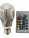 9W E27 Круглые LED лампы A60(A19) 1 Integrate LED 800 lm RGB Регулируемая На пульте управления Декоративная AC 85-265 V 1 шт.