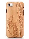 Para Case Tampa Estampada Com Relevo Capa Traseira Capinha Madeira Desenho Rigida Madeira para AppleiPhone 7 Plus iPhone 7 iPhone 6s Plus