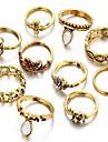 Набор украшений Кольцо Базовый дизайн Драгоценный камень Круглый Золотой Серебряный Кольца Для Повседневные 1 набор Свадебные подарки