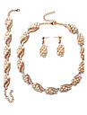 Свадебные комплекты ювелирных изделий Искусственный жемчуг Euramerican Жемчуг Геометрической формы 1 ожерелье 1 пара сережек 1 браслет Для