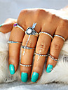 New Fashion Simple 9 Pcs/Set Antique Stone Gem Ring Sets Midi Finger Rings for Women Steampunk Turkish Party Boho Knuckle Ring Summer Style