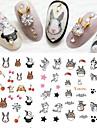 11Designs/pcs Fashion Lovely Style Design Nail Art 3D Sticker Funny Cartoon Expression Cute Cat Rabbit SpongeBob DIY Beauty Decoration E556-566