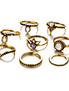 8Pcs/set Women\'s Midi Rings Unique Design Fashion Vintage Alloy Jewelry For Party Daily Casual