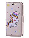 Para iPhone 8 iPhone 8 Plus Case Tampa Porta-Cartao Flip Estampada Corpo Inteiro Capinha Unicornio Rigida Couro Ecologico para Apple