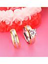 Casal Aneis de Casal Zirconia cubica Estilo simples Elegant Moda Aco Zircao Titanio Forma Redonda Joias Para Casamento Noivado