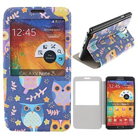 Colorful owl Pattern PU Leather Full Body Case for Samsung Galaxy Note 3