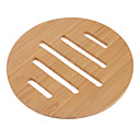 "6.5 ""Hohle Linien Muster Bamboo Coaster"
