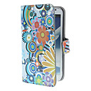 Exquisite Flowers and Circles Pattern PU Leather Case with Stand and Card Slot for Samsung Galaxy Note 2 N7100