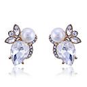 Lureme®Delicate Teardrop Shape Crystal with Pearl Earrings