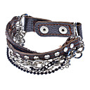 Multilayer Leather Brown Punk Metal Rivets Chain Bracelet