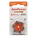 ZeniPower A13 Hearing Aid Button Battery (6pcs)