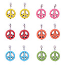 Lureme®Colorful Turqoise  Anti-war Peace Sign Pendant Earrings(Random Color)