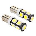 Ba9s 4W 9x5060SMD 320-360LM 6000-6500K White Light LED Bulb for Car (DC 12V, 2-Pack)