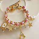 Звезды цветы сердца покер кожаный шнур Эйфелева башня кристалл браслет