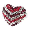 Pretty Austrian Crystal Heart Cut Ring (Red)