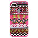 2-в-1 Дизайн Национальность Pattern Жесткий чехол с силиконовой на внутренней обложке iPhone 4 / 4S