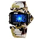 Мужская армии Стиль Многофункциональный Красочный светодиодные Камуфляж силиконовой лентой наручные часы (разных цветов)