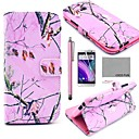 COCO FUN® Pink Branch Pattern PU Leather Full Body Case with Screen Protector, Stylus and Stand for HTC One M8