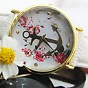 For Women Gold Anchor Flower Leather Strap Quatz Watch Assorted Colors