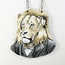 Lion Pattern Wood Necklace