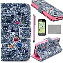 COCO FUN® Cartoon Graffiti Pattern PU Leather Full Body Case with Screen Protector,Stylus and Stand for iPhone 5C