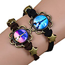 Galaxy Retro Handmade DIY Lover Time Multicolor Alloy Glass Leather Warp Bracelet(1 Pc)(Black,Brown)(As Picture 11)