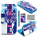 COCO FUN® Fierce Tiger Pattern PU Leather Full Body Case with Screen Protector, Stylus and Stand for HTC One M8