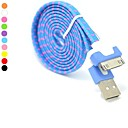 Молния 30-контактный USB Цветные Нейлон плоского переплетения зарядки кабель синхронизации, данных для iPhone 4 / 4S (100см, ассорти цветов)
