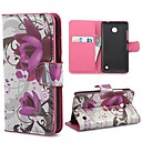 Elegant Purple Flower Pattern PU Leather Case with Magnetic Snap and Card Slot for Nokia Lumia 630