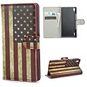 Retro USA American Flag Leather Wallet Case with Stand and Card Slot for Huawei Ascend P7