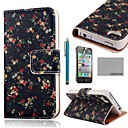 COCO FUN® Flower Black Pattern PU Leather Full Body Case with Screen Protector, Stand and Stylus for iPhone 4/4S