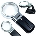 ZW-7006 Multifunction Folding 60mm 3X Magnifier with 2 LED Lights (2 x AA)