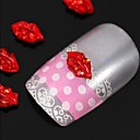 10шт Sexy Red Lips 3D DIY Rhinestone сплава Jewel Аксессуары Nail Art Decoration